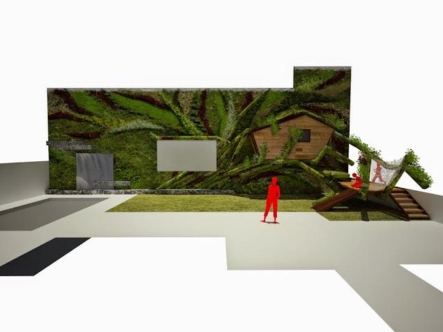 casa en el árbol integrada en un jardín vertical