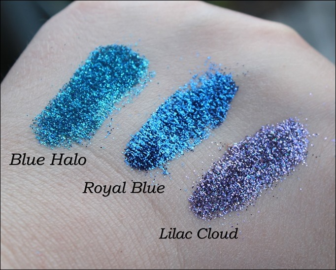 StarGazer Glitter Shaker Swatches Blue Halo Royal Blue Lilac Cloud