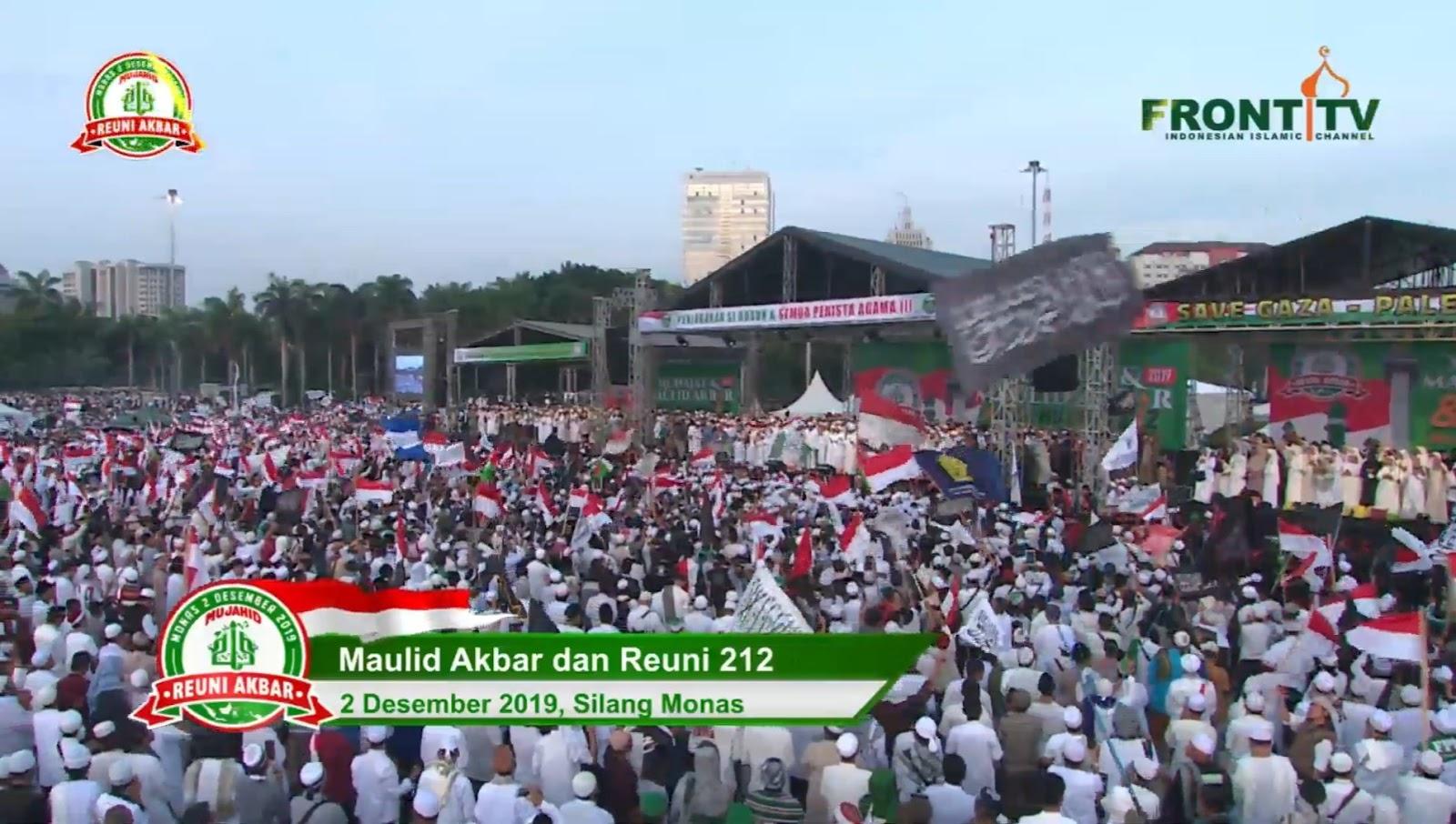 Spanduk 'Hentikan Pengasingan Politik IB HRS' Muncul di Reuni 212