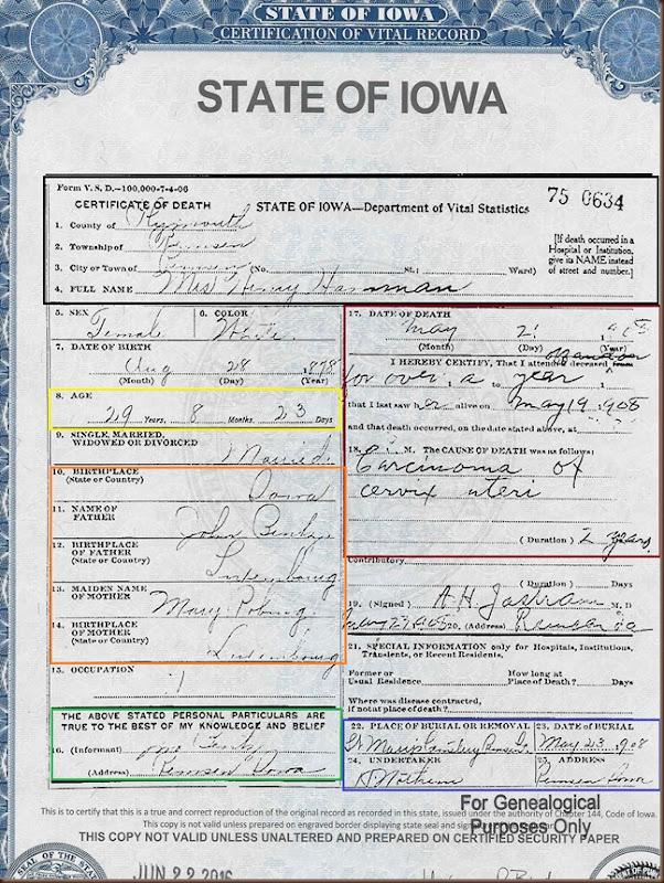 Hamman Susan death certificate 1908 highlighted