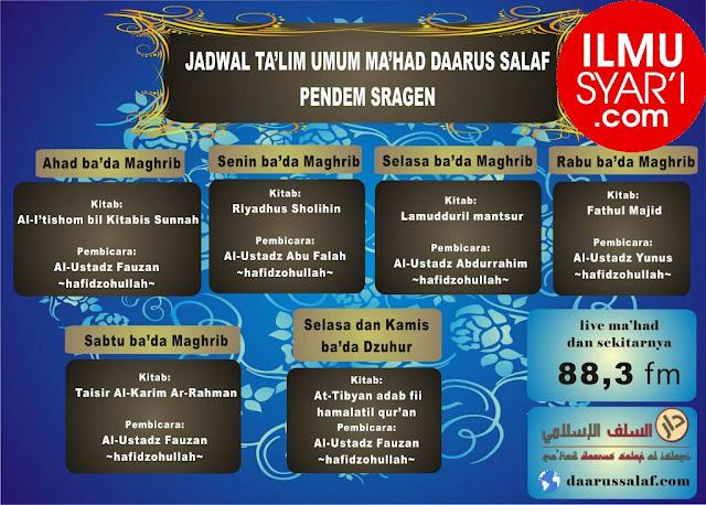 Informasi Jadwal Kajian Sunnah di Sragen