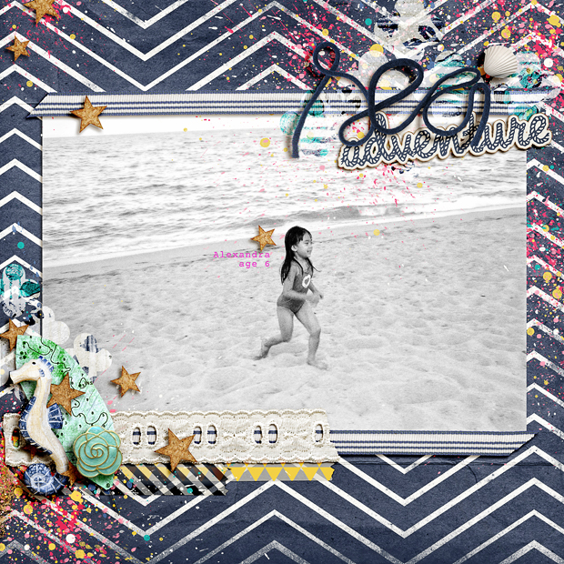 Sea Adventure // Scrapbook Layout // 12x12 // Sail Away with Me by Jenn Barrette
