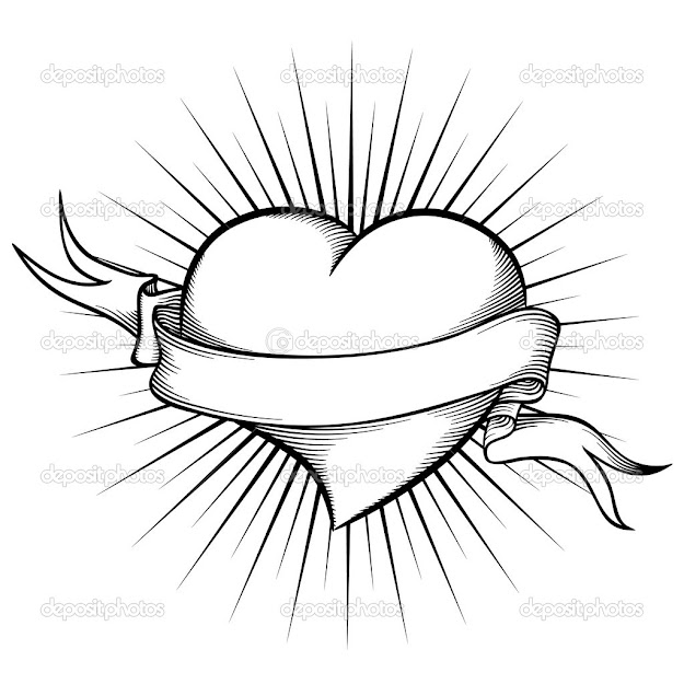 Hearts And Roses Coloring Pages  Heart With Ribbon In Tattoo Style Vector  Illustration