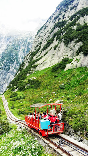 Gelmer Funicular, is the steepest in Europe! Great fun for families and anyone who enjoys glacier-covered mountain views without the effort!