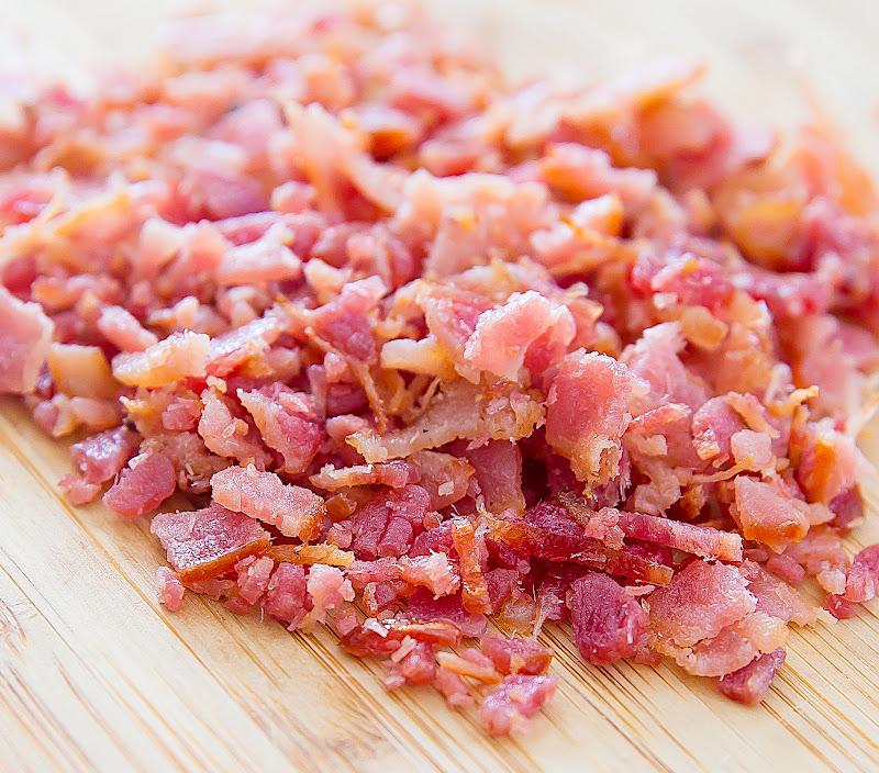 close-up photo of chopped bacon