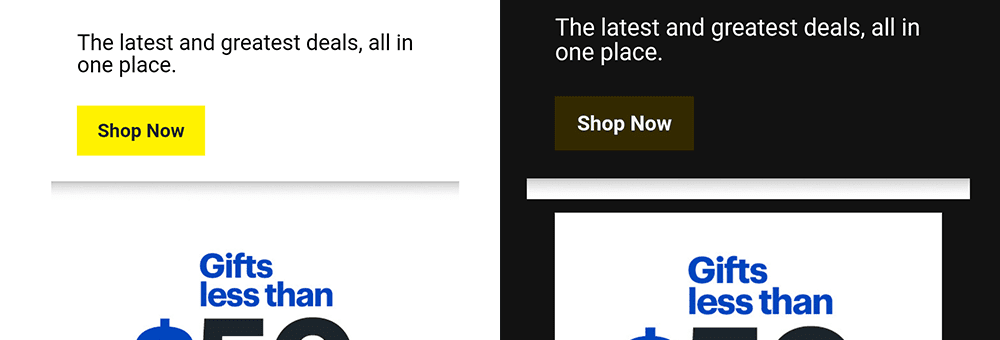 Example of dark mode graphic issue in Best Buy HTML email