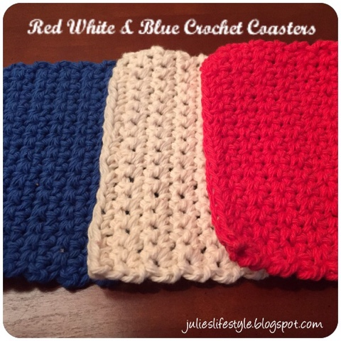 Julies Creative Lifestyle Red White Blue Crochet Coasters