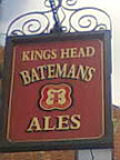 Batemans Brewery Kings Head sign with stylised central hop it's seeds a back to back Batemans letter B