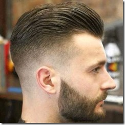 Skin fade and stubble brown hair