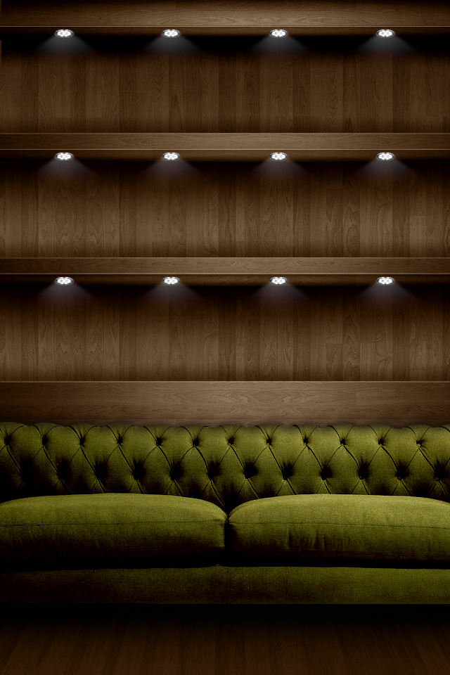 iPhone 4 Background HD Luxury Green Sofa Shelves Picture