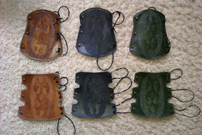 """""""Dotted"""" armguards - dark brown, black, green. These colours are available also for dotted quivers and standby quivers!"""