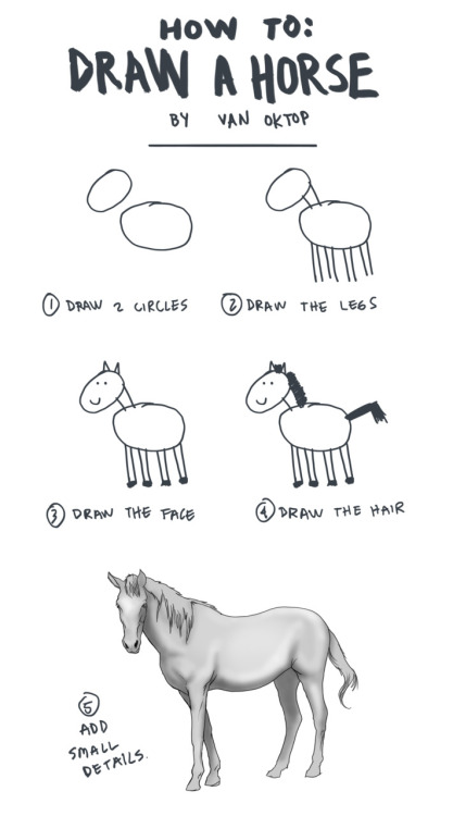 how to draw a horse, by Van Oktop