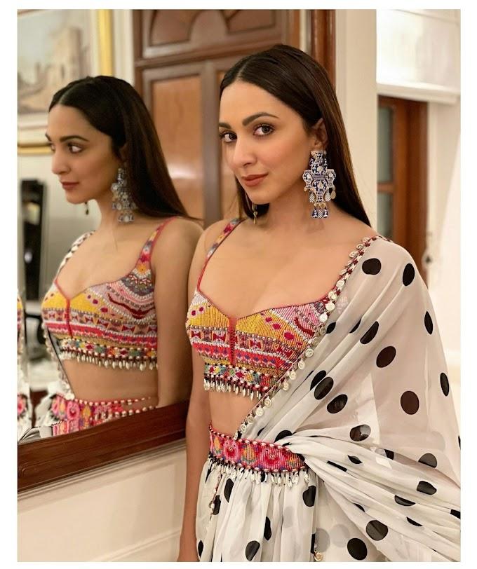 Kiara Advani Polka Dot Sari is Perfect Set for Cocktail Parties