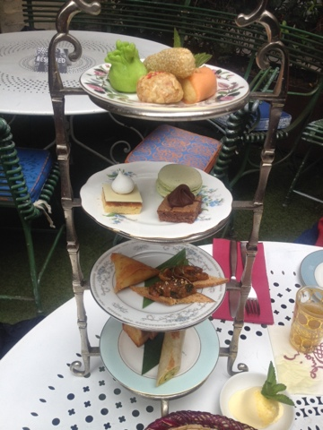 Afternoon tea tiered tray with Moroccan delicacies