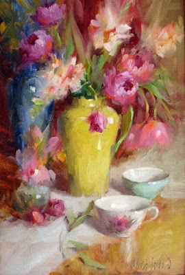 """Arrangement with Roses and Tulips"""