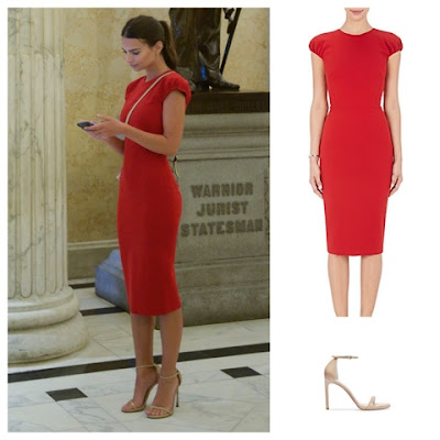 Emily Ratajkowski on Capitol Hill wearing a red sheath dress