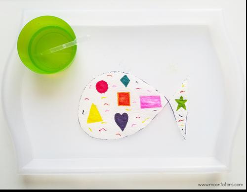 Rainbow Fish Fine Motor Paper Towel Shape Art