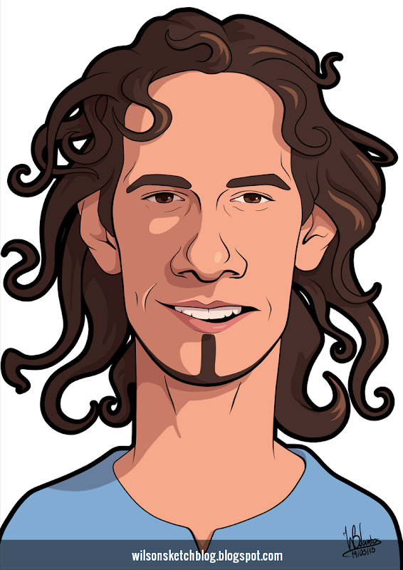 Cartoon caricature of Edinson Cavani.