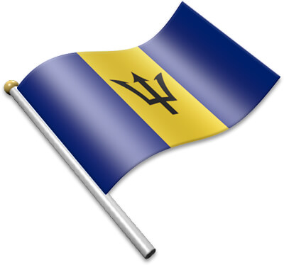 The Barbadian flag on a flagpole clipart image