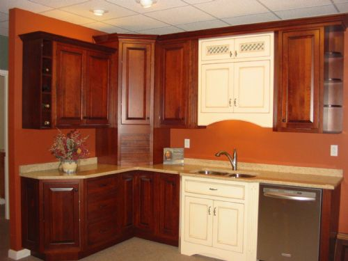 Cherry cabinets with English Linen accents.