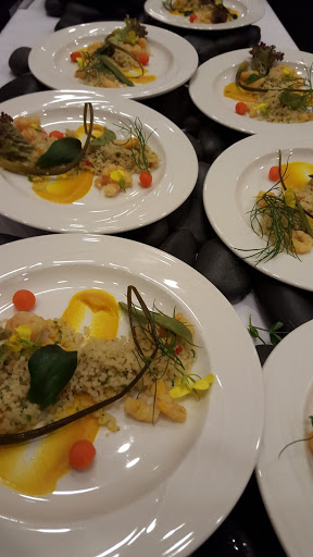 Couscous and saffron-poached ice shrimps salad with pickled garlic scapes and purees: ginger and carrot, sweet basil and spinach. From How To Celebrate Food Day Canada in St John's, Newfoundland