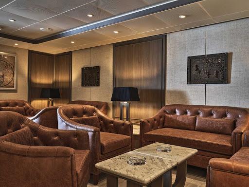 The elegant interior of Connoisseurs Corner, the quiet retreat aboard Silver Moon.