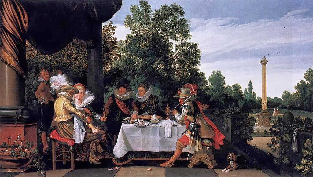 Esaias van de Velde - Merry company banqueting on a terrace