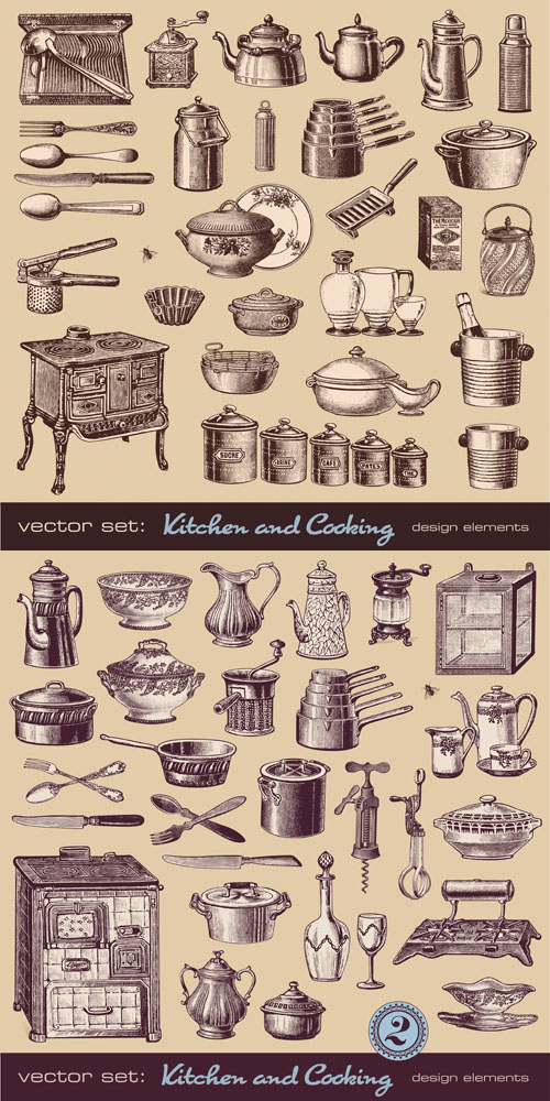 Stock: Kitchen and cooking - vintage design elements