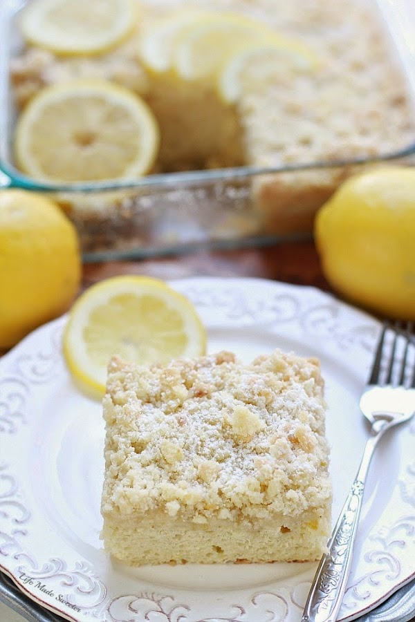 Greek Yogurt Lemon Coffee Cake - A bright & flavorful lightened up lemon coffee cake with a delicious streusel topping & a sweet & tangy lemon glaze..jpg