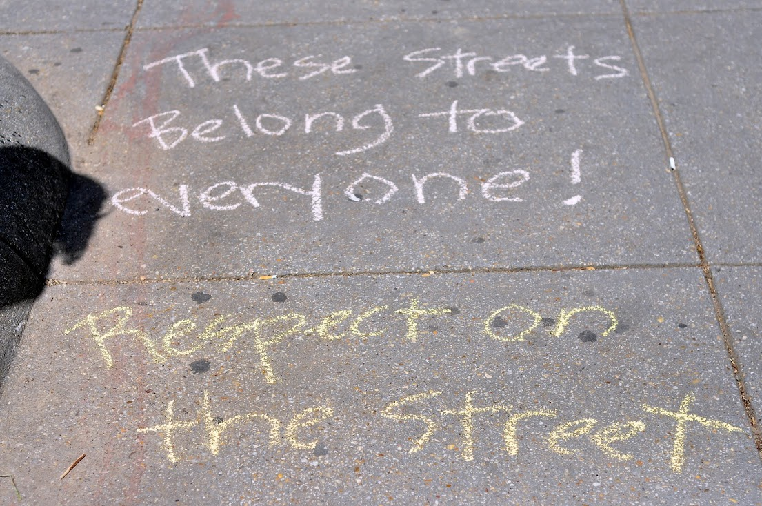 Sidewalk chalking in Washington, DC