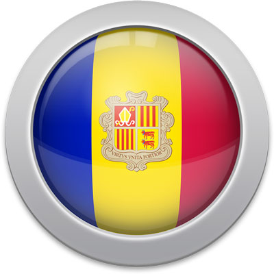 Andorran flag icon with a silver frame