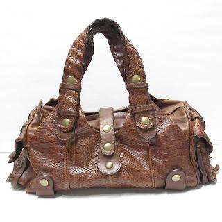 Chloé Silverado Brown Python Skin Leather Satchel