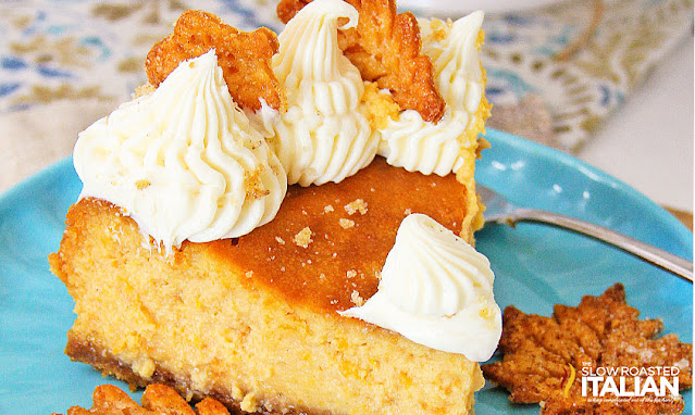 sweet potato cheesecake on a blue plate