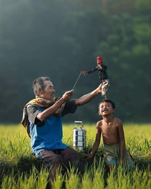 Kehidupan Di Kampung Indah Tanpa Gadget Pemandangan Desa Indonesia Main Wayang di Sawah