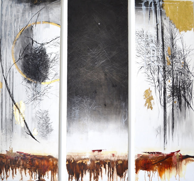 "'Never Less Alone than When Alone' triptych , each 12""x36"" , mixed media on canvas, oil, charcoal, gold leaf, gold leaf composite. The Avenue Gallery,Victoria BC . Framed SOLD"