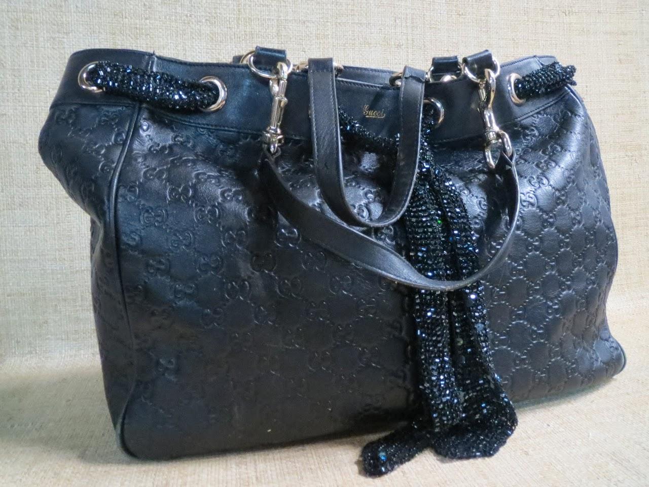 Gucci Leather Monogram Tote