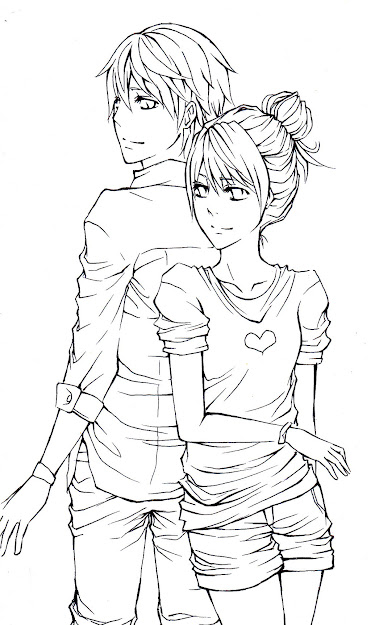 Anime Couples Hugging Coloring Pages Anime Couples Lineart Tattoo Inside Anime  Couples Coloring Pages