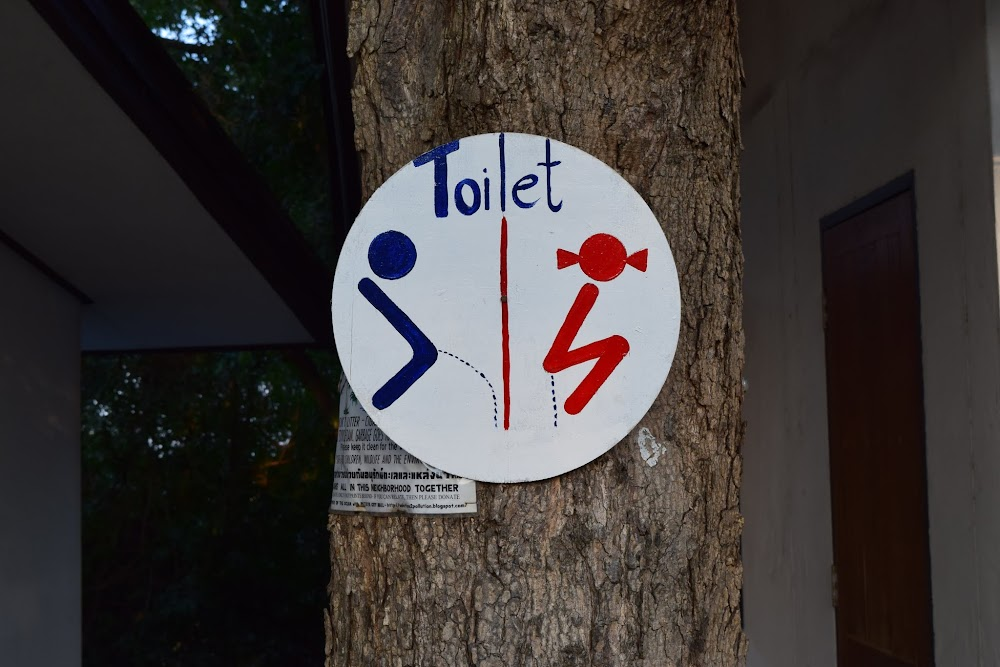interesting toilet sign, especially considering it's in a Buddhist temple!  haha