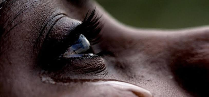 A woman crying