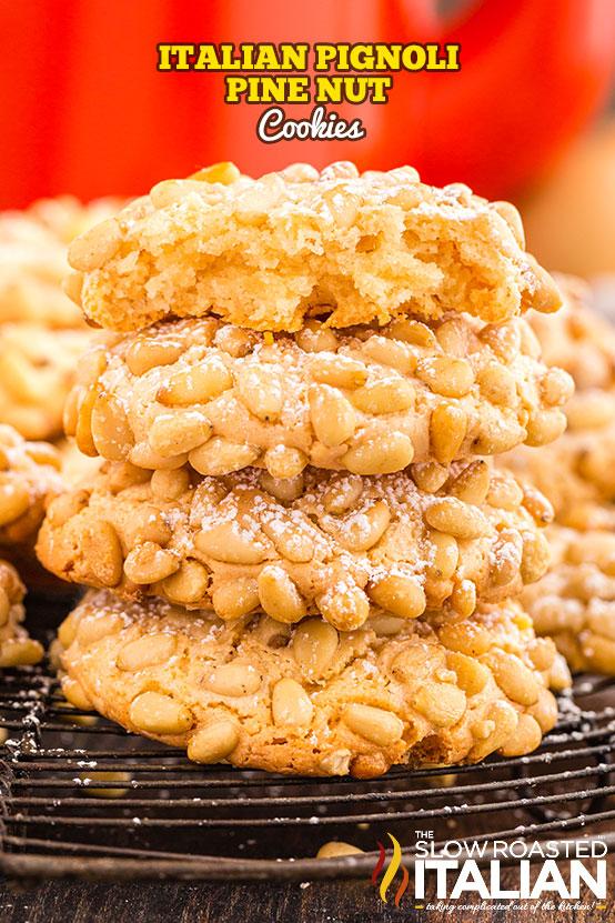 Italian Pignoli Cookies (Pine Nut Cookies) stacked