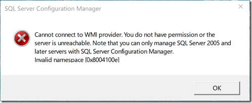 Error dialog from SQL Server Configuration Manager