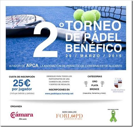 III Torneo Benéfico de Pádel a favor de APCA, sábado 16 de abril 2016 en Alicante.