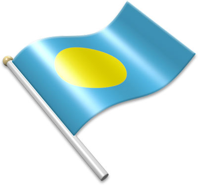 The Palauan flag on a flagpole clipart image