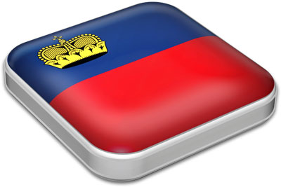 Flag of Liechtenstein with metallic square frame