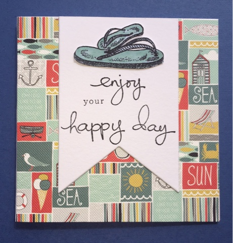 I Found An Off Cut Of Patterned Paper On A Beach Theme The Banner Uses Stampin Up Framelits Die And Words From Their Endless Birthday Wishes