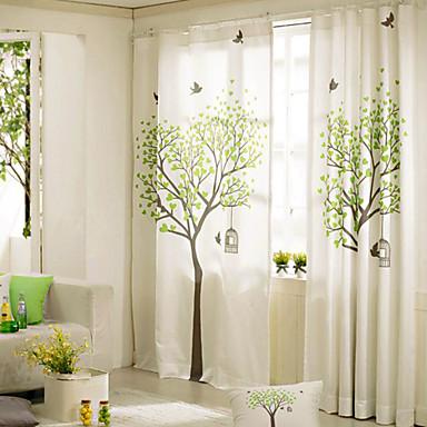 Cortinas: cortinas dobles estampadas con Árboles