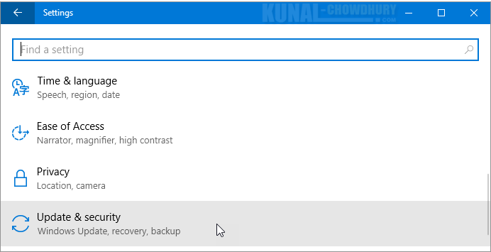 Windows 10 Update & Security (www.kunal-chowdhury.com)