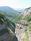 Nepalaise bridge in Via ferrata of Sautet Dam