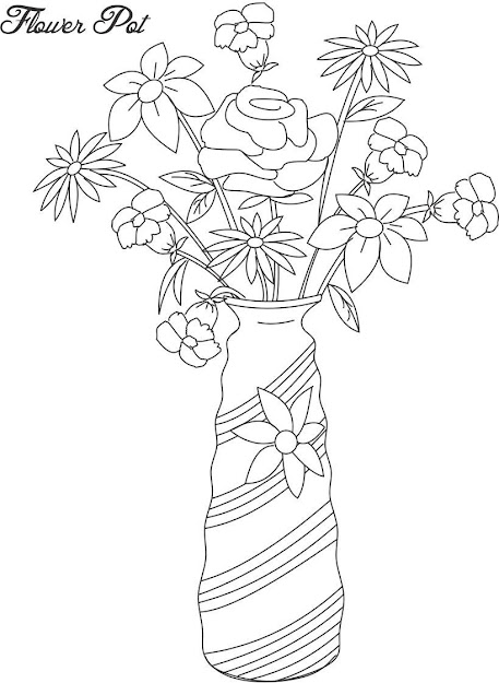 Flower Page Printable Coloring Sheets  Flower Pot Coloring Printable Page  For Kids  Decorative