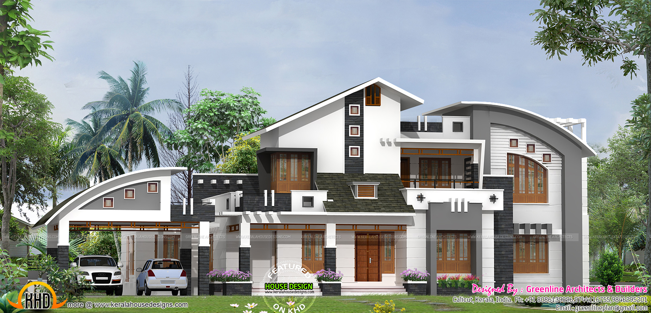 Contemporary mix home plan kerala home design and floor for Contemporary style homes in kerala